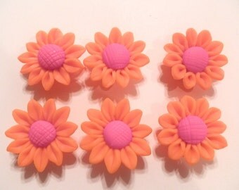 10 Fimo Polymer Clay Neon Orange Fuschia Sunflower Flower Fimo Beads 30mm