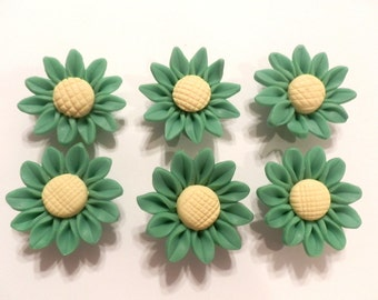 10 Fimo Polymer Clay Green Yellow Sunflower Flower Fimo Beads 30mm