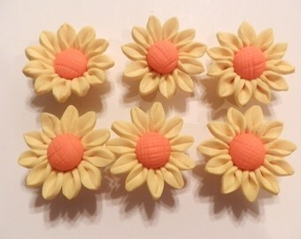 10 Fimo Polymer Clay Yellow Orange Sunflower Flower Fimo Beads 30mm