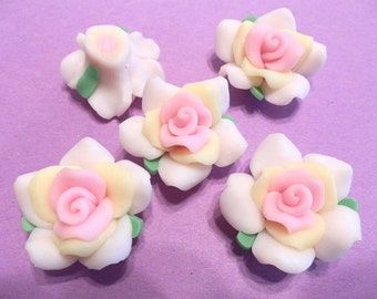 10 Fimo Polymer Clay White Pink Yellow Flower Rose Fimo Beads 38mm