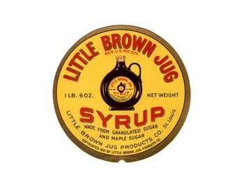 2 Little Brown Jug Syrup labels