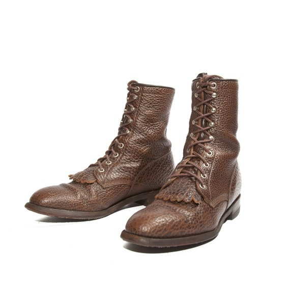 Men S Justin Lace Up Ankle Roper Boot Brown Bull Hide