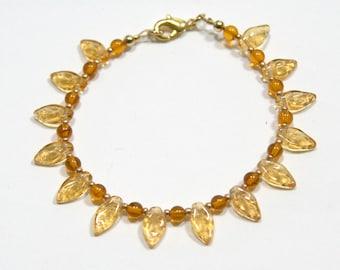 Autumn Leaves Amber & Gold Bracelet