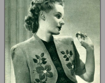 PDF Knitting pattern for Ladies Clematis Flower Spray Embroidered Bolero  - 1940's - Instant Download