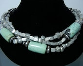 Three Strand Necklace: Huge Turquoise Barrels and Aluminum Cubes