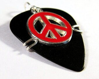 Guitar Pick Jewelry - Black Pick with red peace sign