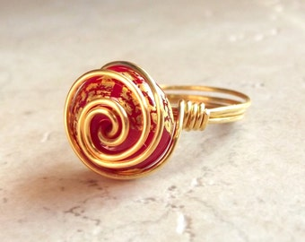 Red & Gold Ring:  24K Gold Leaf Spiral Wire Wrapped Jewelry, Cherry Red Glass Ring