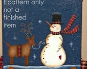 EPATTERN, #0002 Snowman and reindeer, mini, canvas, paint your own, digital download, painting epattern,