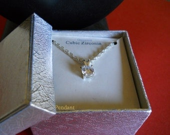 "Genuine Cubic Zirconia 18"" Pendant with silver chain"