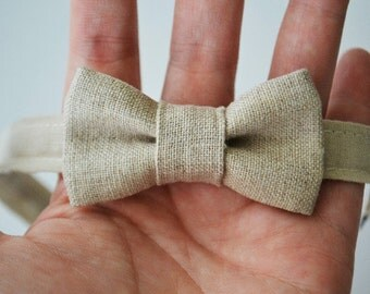Infant Bow Tie in Neutral Linen