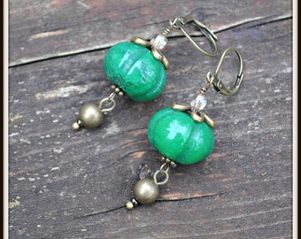 Green Jade and Brass Earrings handmade green dangle earrings