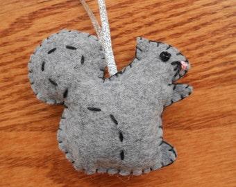 Felt squirrel ornament