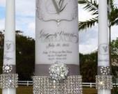 Rhinestone Pure Diamonds Unity candle set........holders included