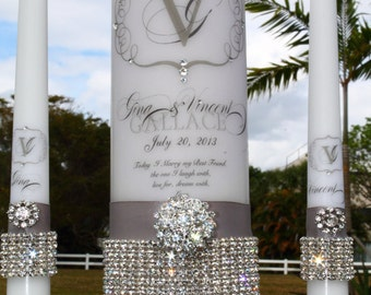 Unity Candle - Rhinestone Pure Diamonds  set - holders included - Wedding - Unity - Candle -  Holder - Pillar
