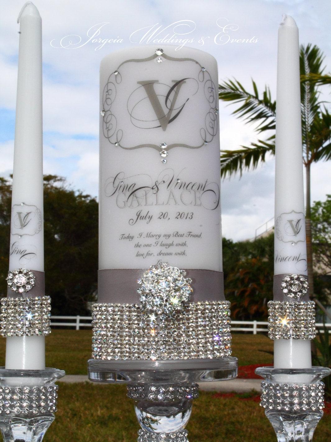 Unity Candle Rhinestone Pure Diamonds Set Holders