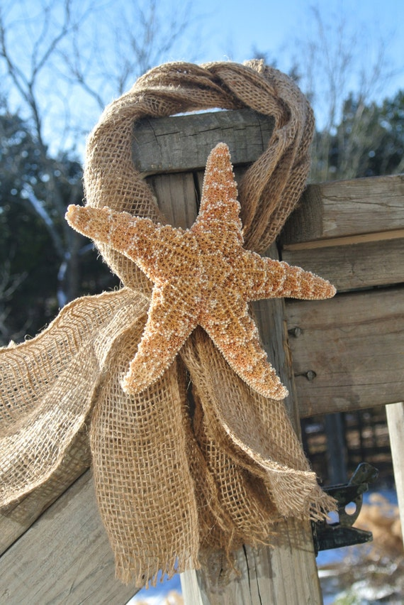 Nautical Decor Starfish Burlap Party Decor Birthday Gift