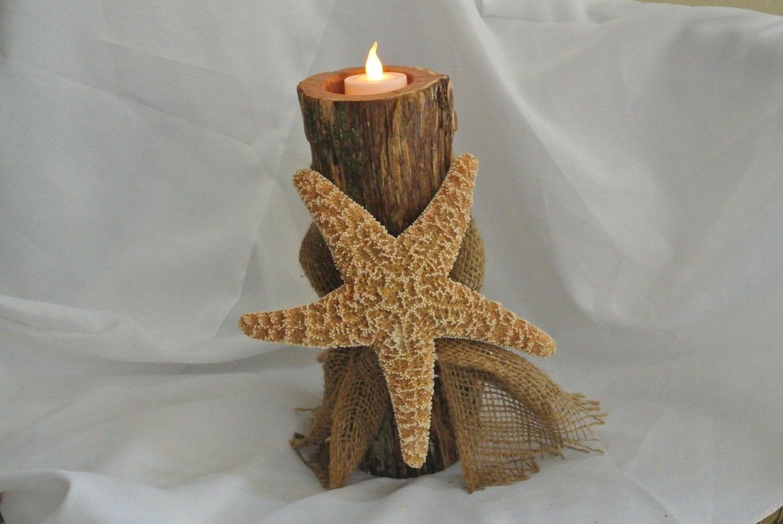 Beach wedding centerpiece log candle holder sugar starfish