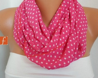 Fuchsia & White Polka Dot Chiffon Infinity Scarf,  Summer Scarf,Women Scarves,Circle Loop Scarf Gift Ideas For Her Women Fashion Accessories