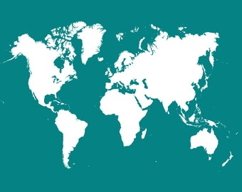 World Map Teal
