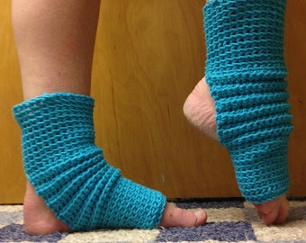 Yoga Socks in Medium Aqua Cotton US-Grown -- for Dance, Pilates, Pedicures, Yoga