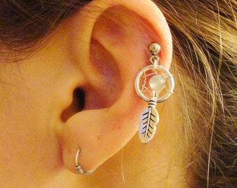Small Amazonite Dream Catcher Tragus Piercing Gemstone Cartilage Upper Earring