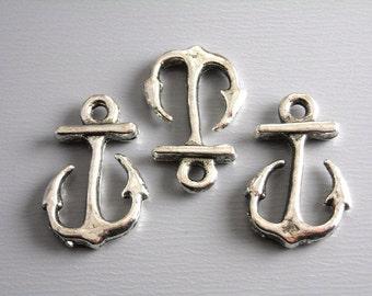 CHARM-SLVR-ACR-16MM - Antique Silver Anchor Charms...6 pcs