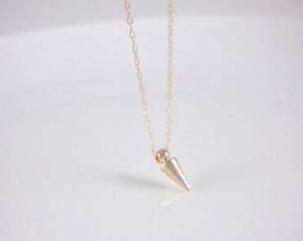 Tiny gold spike or silver spike necklace