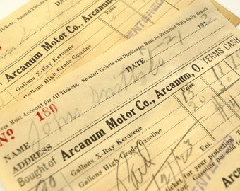 Vintage / Antique Arcanum Motor Co. Receipt (c.1923) - Paper Ephemera, Scrapbook/Journal Supply, Altered Art