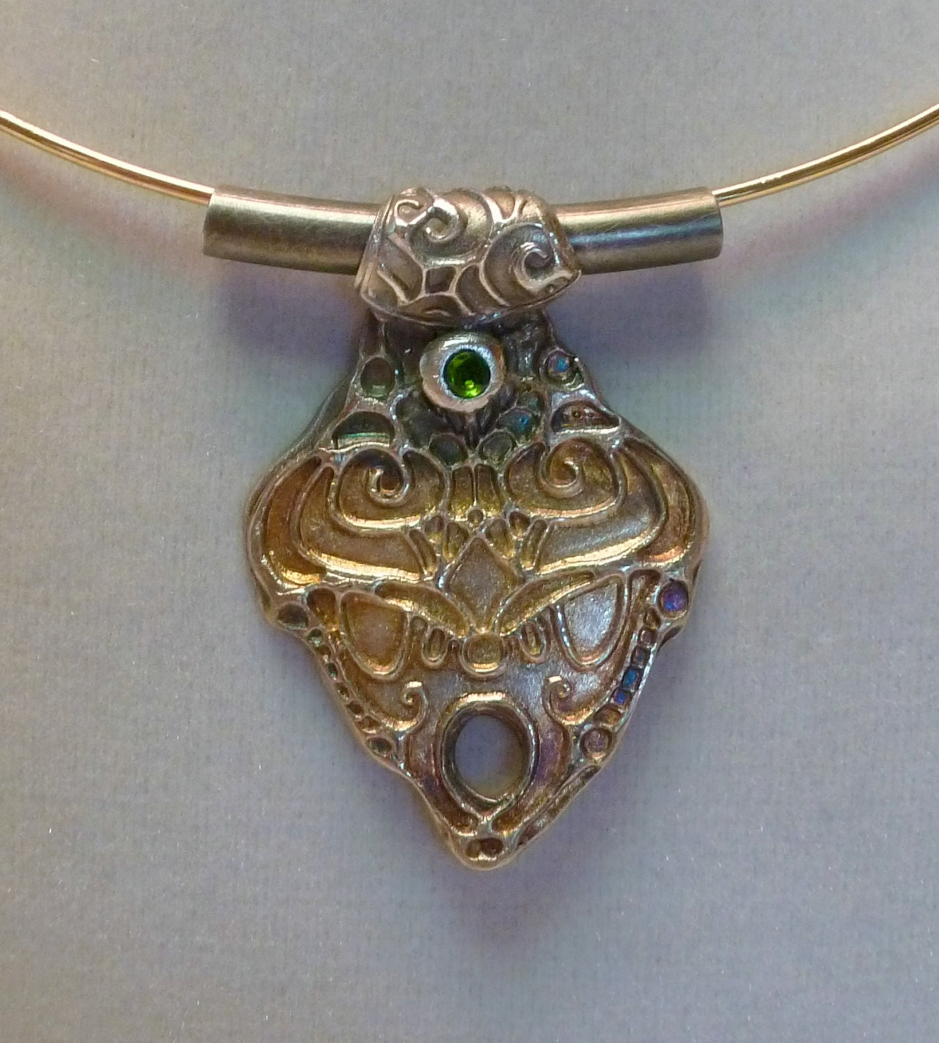 handcrafted silver 999 pendant with chrome