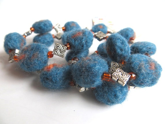 """Felt beads necklace """"Galicia"""", pure new wool, seed beads, Tibetan silver, celtic knot, felted, teal, sea green, orange, OOAK, one of a kind"""