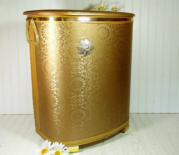 Large Gold Wicker Clothes Hamper Vintage Pearl Wick