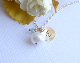 Freshwater Pearl Necklace with Initial Disc and Birthstone  on 14k Gold Filled Chain --  Bridesmaids Gift -- Something Blue