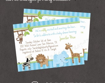 Boy Jungle Baby Shower Invitation 4x6 or 5x7 digital you print your own- Design 40