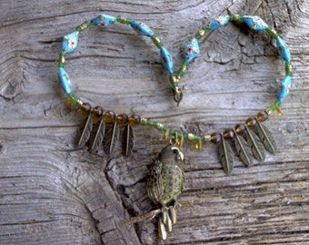 BRASS pendant,feathers,cloisenne beads necklace 20 inch