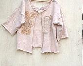 winter vintage lace Ecru natural boho sweater Tatter Crop Cardigan shrug Romantic anthropologie style