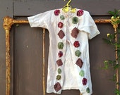 vintage carter's baby tea dyed appliqued shower gift shabby baby circles prairie style infant boho gown clothes