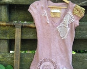 RESERVED for Amy soft rose hand dyed tattered vintage lace Cowgirl Aspen boho gypsy shabby prairie girl tee shirt