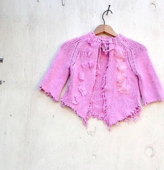Pink shabby summer gypsy sweater crop  Cardigan shrug Romantic anthropologie Style vintage linen