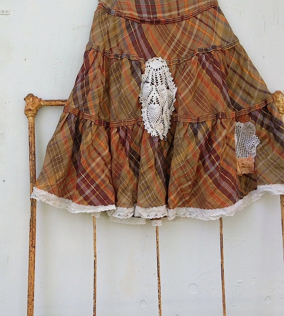 dance time summer prairie russet melon apricot plaid orange Lace rustic cowgirl isda ranch wedding Bridesmaid cottage shabby skirt