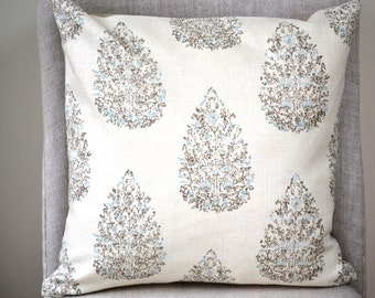 Decorative Throw Pillow, 18 by 18 inch,  (Cover only)  taupe, blue & beige tones