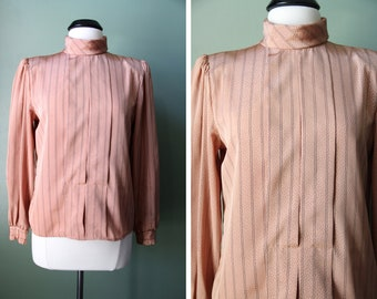 SALE was 22.00 Vintage 90s Secretary Top Rusty Peach Color Size 10