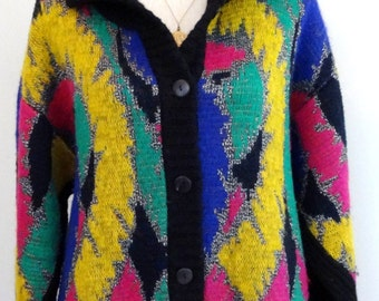 vintage emilio rossi chunky knit wool Cardigan sweater Long  ugly party Sweater Size M-L