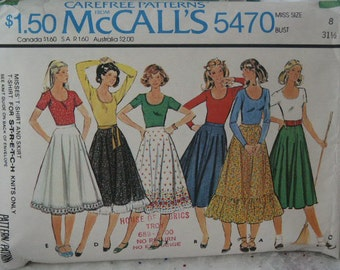 Vintage 70s McCall's Hippie Era Boho Country Western Skirt Square Dance Circle Skirt T Shirt Top Sewing Pattern 5470 Size 8 Bust 31 1/2