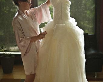 Ready to ship - Samantha Silk bridal kimono getting ready robe pink