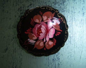 Vintage Hand Painted Russian Pin, Brooch, Jewelry, Black, Pink, Floral, Wooden