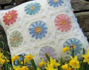 Spring / Summer Flower Crochet Cushion Pattern - PDF