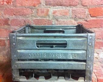 Vintage Abbotts Dairies Metal Milk Crate