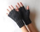 Half Cut Fingers Gloves Knit Fingerless Gloves Wool Charcoal Gray Arm Warmers Women Warmers Winter Fingerless Mittens Modern Mits  - KG0045