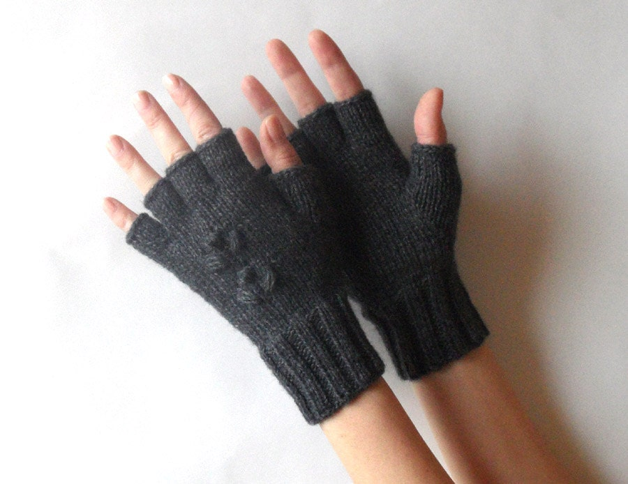 Half Cut Fingers Gloves Knit Fingerless Gloves Wool by Aimarro