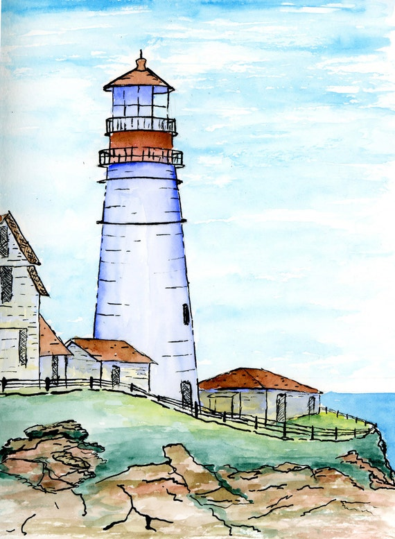 Line Drawing With Watercolor : Items similar to original pen ink and watercolor portland